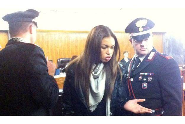 Karima El Mahroug au tribunal de Milan, ce lundi matin.
