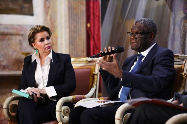 Maria Teresa de Luxembourg et le docteur Denis Mukwege, Prix Nobel de la Paix, vendredi lors d'une conférence de presse.