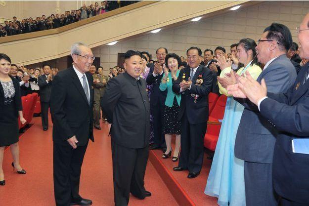 Kim Jong-un à Pyongyang, lors de l'événement où est apparue Hyon Song-wol.