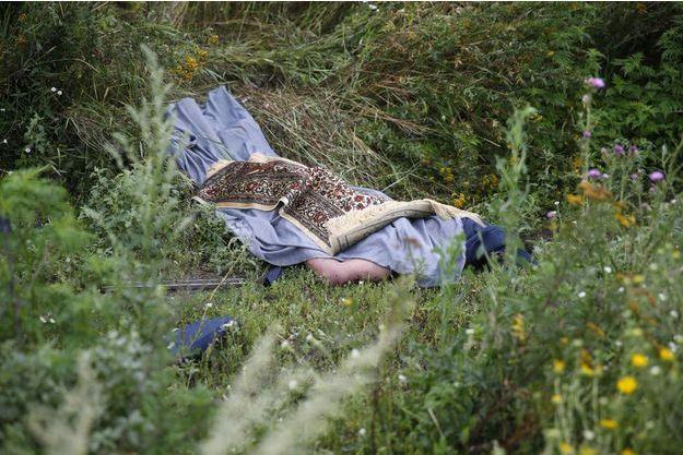 Un corps retrouvé vendredi près des lieux du crash à Rozsypne, en Ukraine.