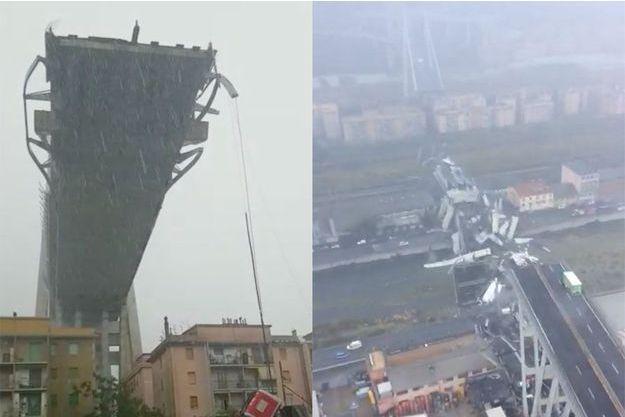 Captures d'écran tirées de vidéos tournées après l'effondrement du pont Morandi, à Gênes, mardi.