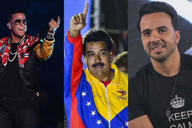 Daddy Yankee, Nicolas Maduro et Luis Fonci.