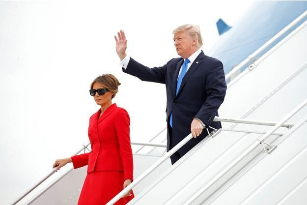 Donald et Melania Trump à leur arrivée à Paris le 13 juillet 2017.