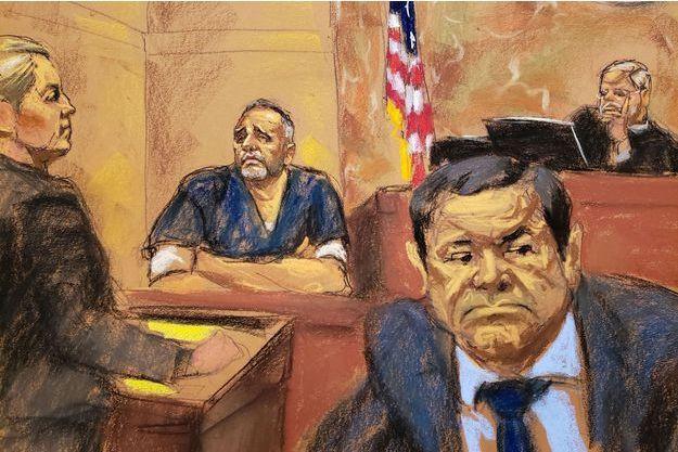 Alex Cifuentes lors du procès d'El Chapo, ici au deuxième plan.