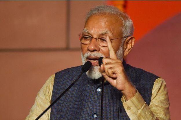 Narendra Modi prononce son discours de victoire jeudi à New Delhi.