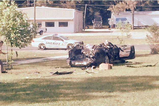 La Tesla Model S après l'accident survenu le 7 mai dernier