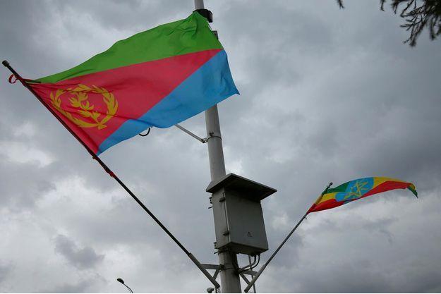 Les drapeaux éthiopien et érythréen flottant à Addis-Abeba, en juin 2018.