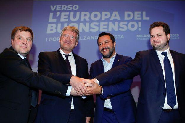 Olli Kotro, Joerg Meuthen, Matteo Salvini et Anders Vistisen.