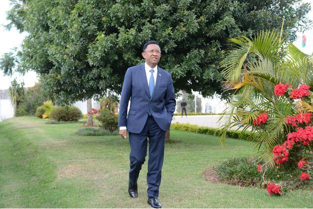 Le président de Madagascar Hery Rajaonarimampianina au Palais présidentiel d'Iavoloha à Tananarive, le samedi 19 mai 2018