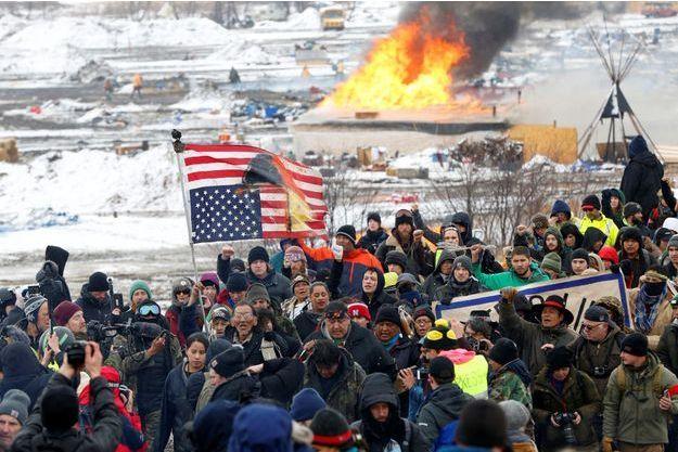 Des opposants au pipeline en février dernier.
