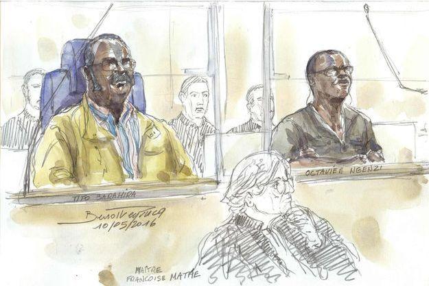 Tito Barahira et Octavien Ngenzi à leur procès ce mardi.