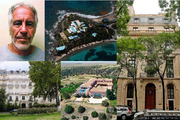 Certaines propriété de Jeffrey Epstein : l'île de Little Saint-James, sa maison à New York, sa propriété parisienne et son ranch au Nouveau-Mexique.