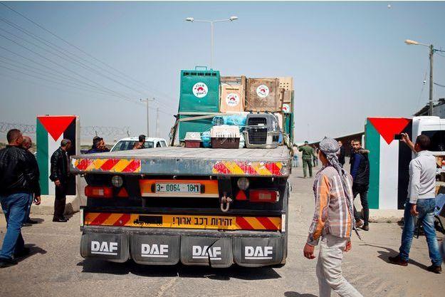 Des animaux sur un camion quittent Gaza.