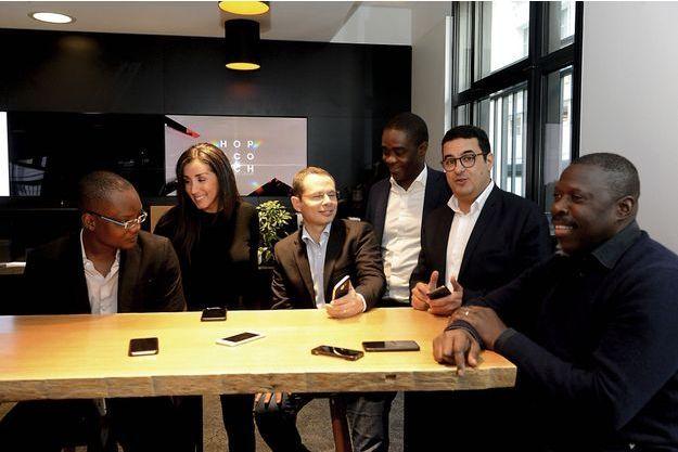 es fondateurs de l'afro, réunis à Paris, le 18 janvier. De g. à dr. : Daniel Ouedraogo, Doriam Chemcham, Thameur Hemdane, Fortuné Ahoulouma, Karim Zine-Eddine et Eric Omoré.