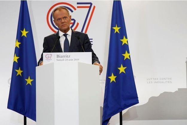 Le président du Conseil européen Donald Tusk lors d'une conférence de presse peu avant l'ouverture du sommet du G7 à Biarritz.