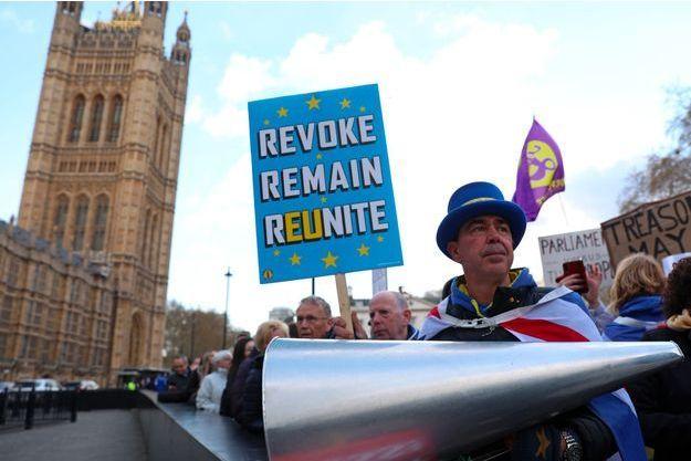 Manifestation anti-Brexit devant le palais de Westminster, le 3 avril.