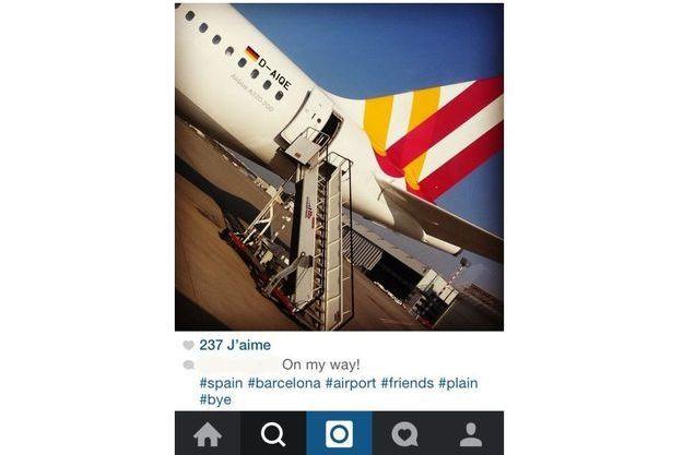 Une photo de l'avion affrété par la compagnie Germanwings prise avant le voyage aller.