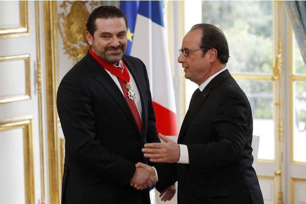 Francois Hollande et Saad Hariri lundi à l'Elysée.
