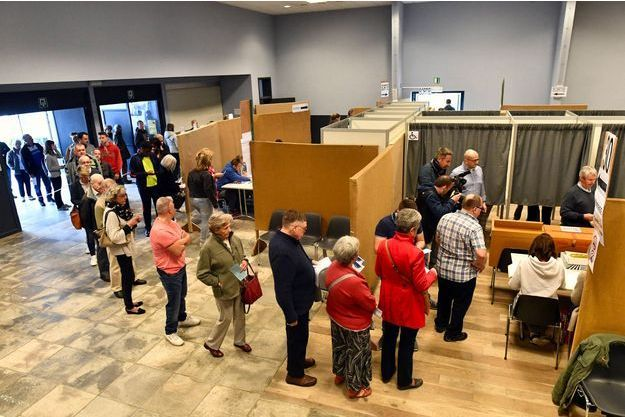 Bureau de vote à Limal, en Wallonie, en Belgique, dimanche.