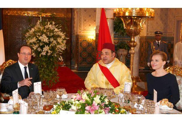 François Hollande, Mohammed VI et Valérie Trierweiler