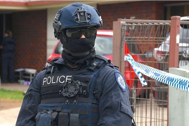 Un policier après l'attaque de Melbourne.