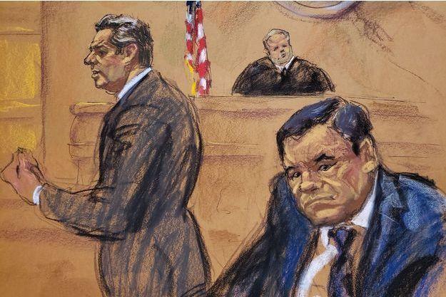 El Chapo entouré de son avocat Jeffrey Lichtman et du juge Brian Cogan.