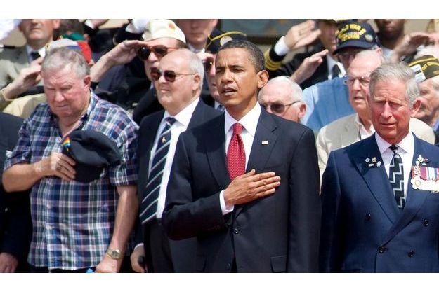 Obama à la commémoration du 6 juin 1944 à Colleville-sur-Mer. A droite, le prince Charles.