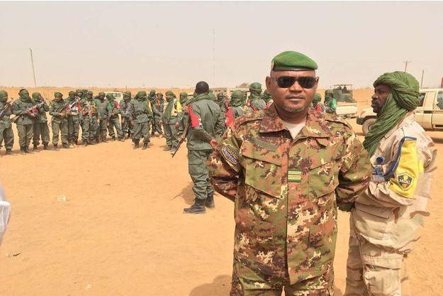 Le colonel Felix Diallo, commandant de l'armée nationale malienne dans une partie importante du Nord Mali, ici à Gao le 23 février 2017 dans la base des forces mixtes