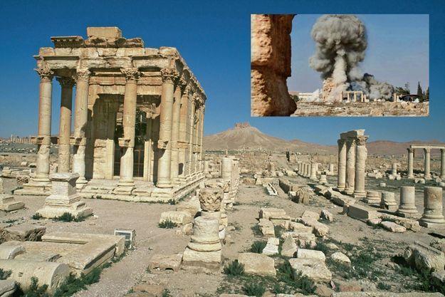Le site archéologique classé au patrimoine mondial de l'Unesco, situé au nord-est de Damas. En médaillon: en 2015, les fanatiques de Daech ont pillé et ravagé les trésors de pierre.