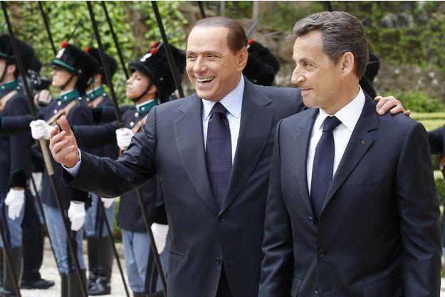 Silvio Berlusconi et Nicolas Sarkozy à Rome, en avril 2011.