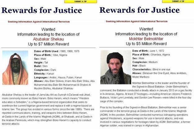 Les fiches d'Abubakar Shekau et Mokhtar Belmokhtar.