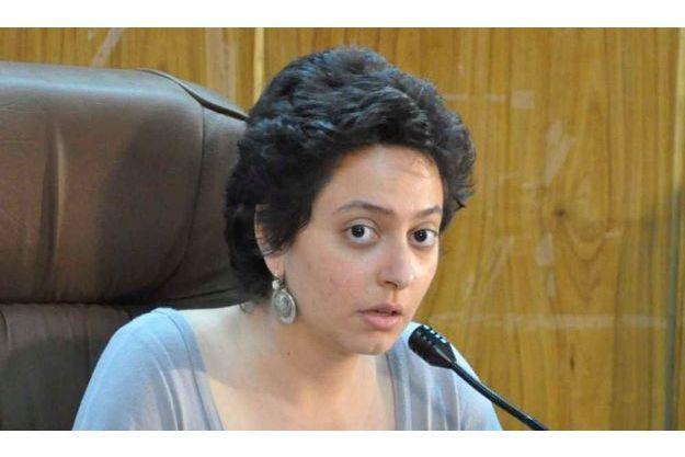 Razan Ghazzawi lors d'une conférence en décembre 2011 au Caire.