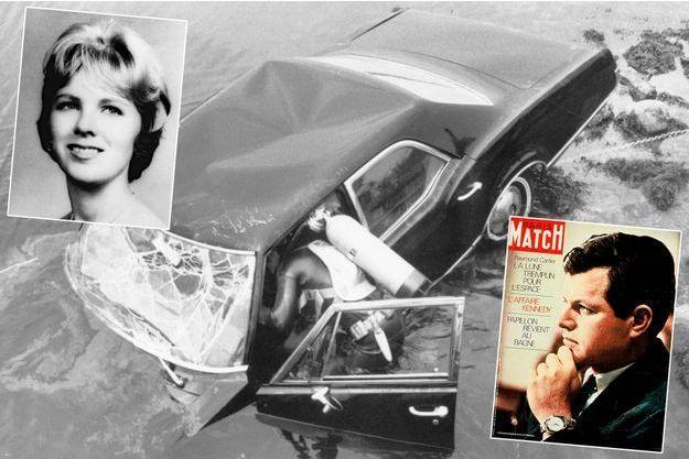 Mary Jo Kopechne, la Oldsmobile et Ted Kennedy en couverture de Paris Match n°1056, daté du 2 août 1969.