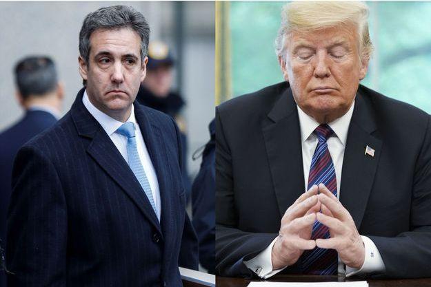 Michael Cohen, le 12 décembre 2018 à New York et Donald Trump, le 27 août 2018 à Washington.