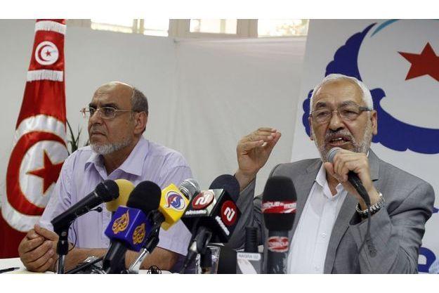 Hamadi Jebali avec le chef de son parti, Rached Ghannouchi.