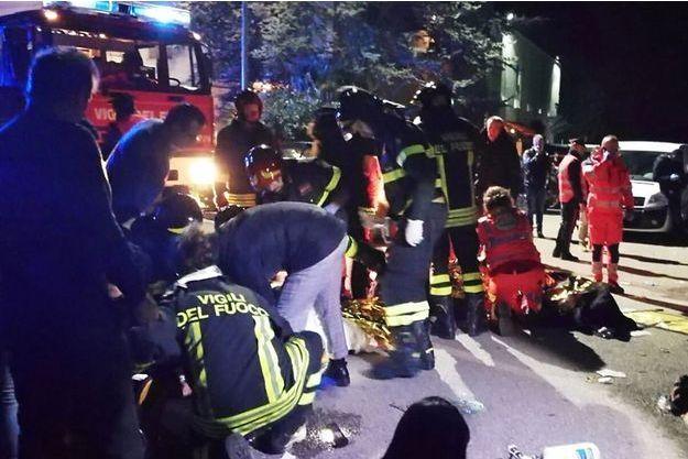 Un accident a eu lieu dans une discothèque à Corinaldo, en Italie, le 8 décembre 2018