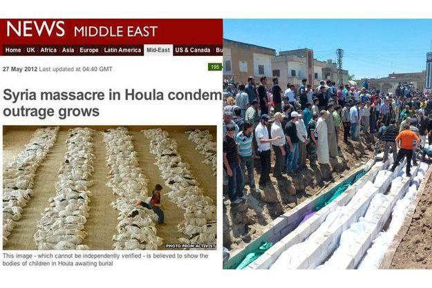 """A gauche, la copie d'écran du site de la BBC avec la photo de Marco Di Lauro faussement attribuée à un """"activiste syrien"""". A droite, une photo Reuters montrant les victimes du massacre de Houla enterrés dans une fosse commune."""
