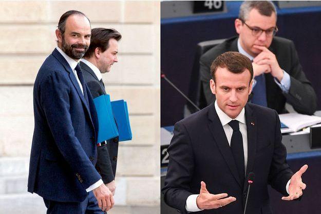 Edouard Philippe et Benoît Ribadeau-Dumas (à g.) et Emmanuel Macron et Alexis Kohler (à d.).