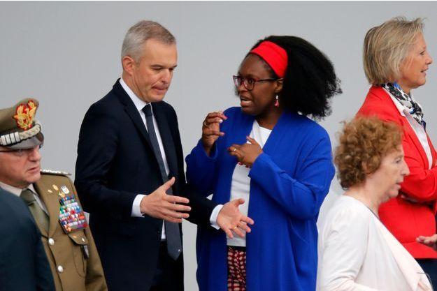 François de Rugy et la porte-parole du gouvernement Sibeth Ndiaye dimanche lors du défilé du 14-Juillet.