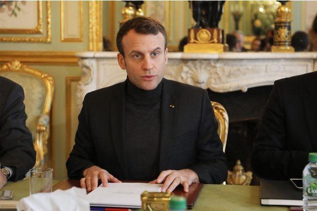 Emmanuel Macron à l'Elysée le 9 février dernier.