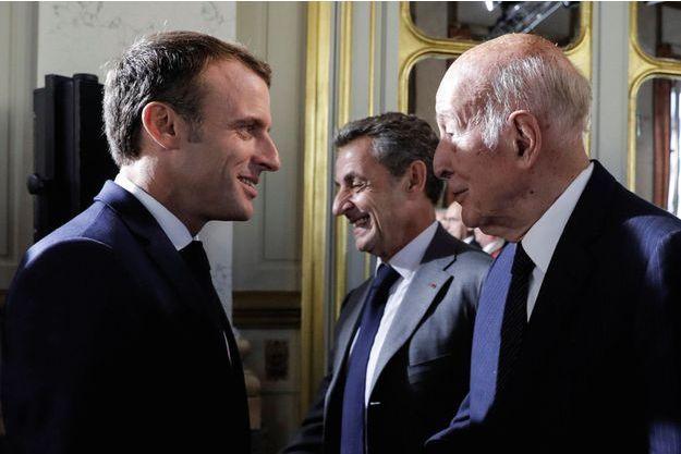 Le 4 octobre 2018, au Conseil constitutionnel. Le président Macron et deux de ses prédécesseurs : Valéry Giscard d'Estaing et Nicolas Sarkozy.