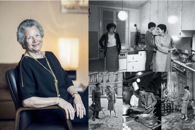A g. : Anne-Aymone Giscard d'Estaing à Paris, le 6 décembre 2017. A dr. en haut : dans l'appartement familial en mars 1981. En bas : à l'Elysée en avril 1980.