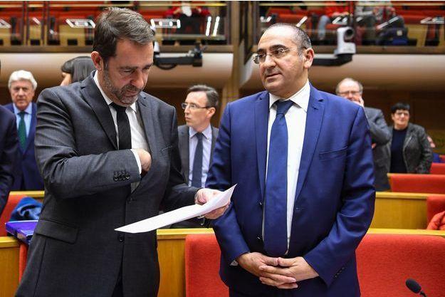 Christophe Castaner et Laurent Nuñez au Sénat, mardi.