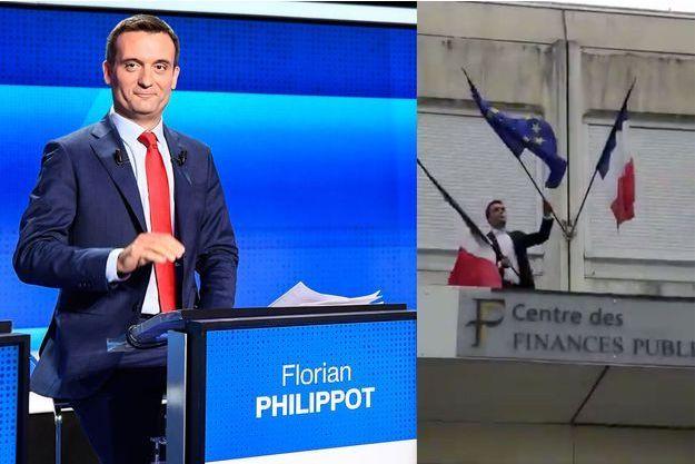 A gauche, Florian Philippot lors d'un débat sur France 2 le 4 avril. A droite, l'eurodéputé retire le drapeau de l'Union européenne du fronton du centre des finances publiques de Forbach.