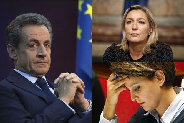 Nicolas Sarkozy, Marine Le Pen et Najat Vallaud-Belkacem.