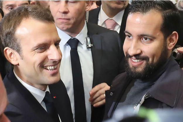 Emmanuel Macron et Alexandre Benalla, le 24 février dernier, au salon de l'Agriculture.