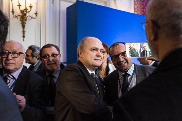Bruno Le Roux lundi, lors de la troisième séance de dialogue avec l'islam de France.