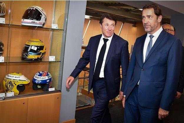 Christophe Castaner et Christian Estrosi, au Castellet vendredi.