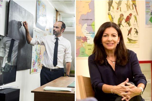 """Edouard Philippe et Anne Hidalgo sont interviewés par des enfants dans """"Au tableau!"""""""