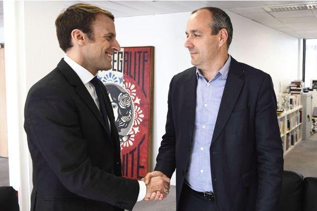Le 20 avril 2017, Laurent Berger au QG du candidat Macron.